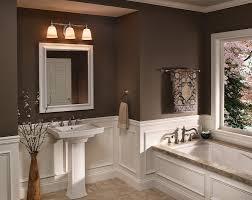 bathroom alluring bathroom vanity lighting above white pedestal sink in gorgeous bathroom with white bathtub