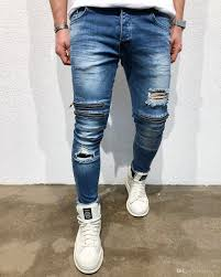 Light Blue Jeans Men S Style Knee Zippers Designer Jeans Mens Clothing Ripped Washed Slim Pencil Pants Fashion Jean