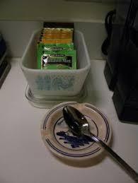 vintage pyrex horizon blue casserole sink caddy organizer