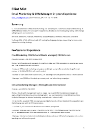 Email Marketing Resume Sample CV Email Marketing CRM 16