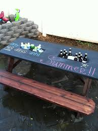 Best Picnic Table Designs Chalkboard Top Picnic Table With Planter Boxes As Coolers