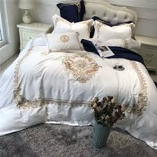 5pcs luxury white blue egyptian cotton queen king bedding sets oriental golden embroidery duvet cover bed