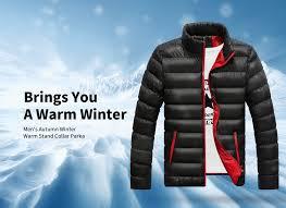 <b>Men's Autumn Winter</b> Warm Stand Collar Parka Stylish <b>Cotton</b> Jacket