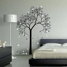 bedroom decor aspen tree wall art paintings winter theme beauiful falling white leaves black painted furniture
