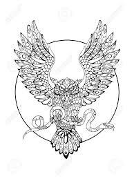 大人ベクトル イラストの塗り絵蛇と鳥はフクロウ入れ墨のステンシルです