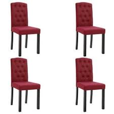 Shop vidaXL <b>Dining Chairs</b> 4 pcs <b>Wine Red</b> Fabric - Overstock ...