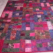 Handmade Batik Quilt in Fuchsia Violet Pink Patchwork ... & Handmade Batik Quilt in Fuchsia Violet Pink Patchwork Adamdwight.com