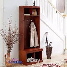 Coat And Shoe Rack Hallway Entryway Wooden Hall Tree Shoe Storage Bench Coat Rack Metal Hooks 42