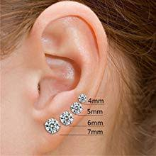 Fashion 925 Sterling Silver Pricess Cut Cubic Zirconia Stud Earrings 4mm 5mm 6mm 7mm 8mm