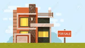 Illustration Board House Design Vector Color Illustration Of House With Board For Sale On Blue