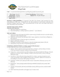Food Prep Resume Chief Cook Resume Restaurant Chef Cover Letter