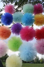 Decorative tulle pom poms by shanealwilliamson on Etsy -- for my resident  girly-girl's