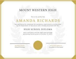 white golden borders high school diploma certificate  white golden borders high school diploma certificate