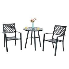 bistro furniture sets phi villa outdoor patio metal 3 piece bistro furniture set with 2 x
