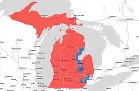 map of michigan s congressional districts red highlighted districts are curly represented by a republican while