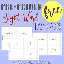Pre Primer Sight Word Flashcards In All You Do