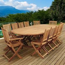international home ia teak 13 piece extendable patio dining set