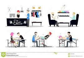 Tattoos For Interior Designers Tattoo Studio Interior Design Stock Vector Illustration