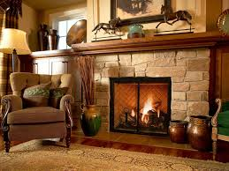 gas stone fireplace in the country living room complete with