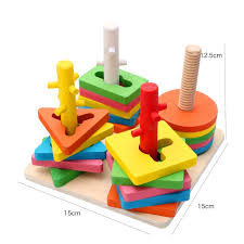 Wooden Math Games Wooden Column Shapes Stacking Toys math games Baby Preschool 69