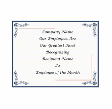 Employee Of The Month Certificate Templates 30 Printable Employee Of The Month Certificates Template Archive