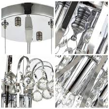 graceful black crystal beads and clear crystal waterfall chrome finished frame chandelier