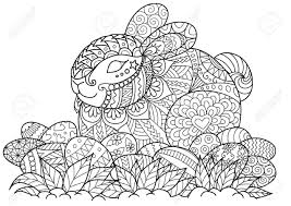 little bunny sitting on easter eggs for coloring book page easter card and other