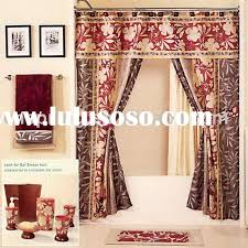 brown double swag shower curtains with valance brown double swag