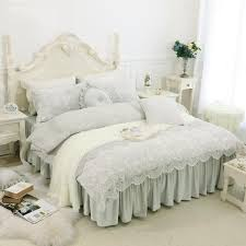 purple grey thick fleece lace girls bedding set twin full queen king size duvet cover set bed skirt bed cover set pillowcase bedding set king queen