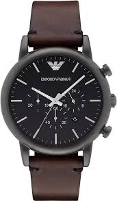 chronograph dark brown leather strap watch 46mm ar1919