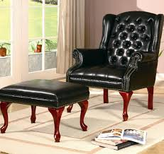 Leather Accent Chair With Ottoman Black Color Vintage Tufted Leather Accent Chair With Ottoman And