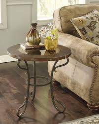 ashley brown finish round metal end table