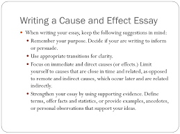 cause and effect writing ppt  writing a cause and effect essay