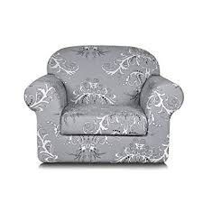 tikami 2 piece spandex printed fit stretch sofa slipcovers chair gray