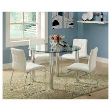 ioHomes 5pc Glass Top Chrome Leg Round Dining Table Set Metal/White