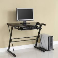 image of glass top small computer desk for narrow space