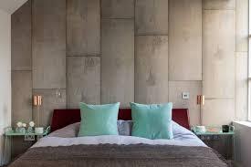 bedroom with concrete walls