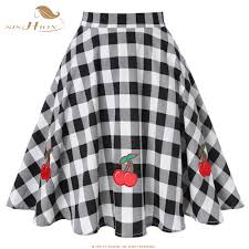 Designer Plaid Skirt Us 12 85 19 Off Sishion Checkerboard Checkered Skirt Designer Women Sexy High Waist Vintage Cherry Appliques Black And White Plaid Skirt Vd0020c In