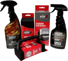 Amazon.com : Weber Grill Cleaning Kit - Grill Spray Cleaner, Stainless  Steel Polish, Grill Scraper, Stain Remover, and 10 Grill Scrubber Pads :  Freestanding ...