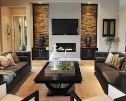 ... Impressive Interior Concept Symmetrical Vase Display Black Sofas Living  Room Design Square Table With Plants Accessories