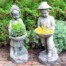 garden figures. Flower Girl \u0026 Boy Garden Figures