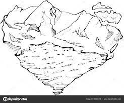 иллюстрация горы озеро и облаков в форме сердца сделано в стиле