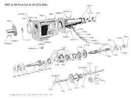 flathead parts drawings transmissions three speed std trans for 1957 59 ford six v8 272 292