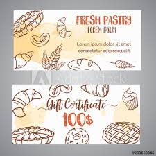 Vintage Gift Certificate With Sketch Bakery Pastries Sweets