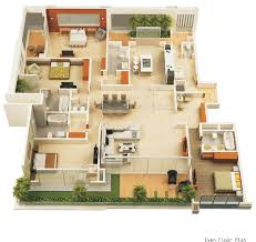 Great 4 Bedroom Luxury Apartment Floor 3D Plan 1000+ Images About 3D Floor Plans  On Pinterest