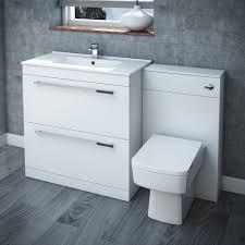 alaska high gloss white vanity unit bathroom suite w1250 x d330mm