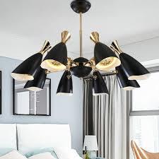Großhandel Moderne Led Schwarz Weiß Gold Kronleuchter Leuchte Lampe