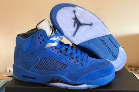 jordan 5 blue. 2017 air jordan 5 blue suede game royal black for sale s