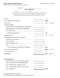 Income Statement Manufacturer Corporation Multiple Step