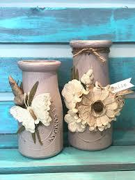 Decorative Milk Bottles chalk painted milk bottles diy farmhouse decor embellished flowers 51
